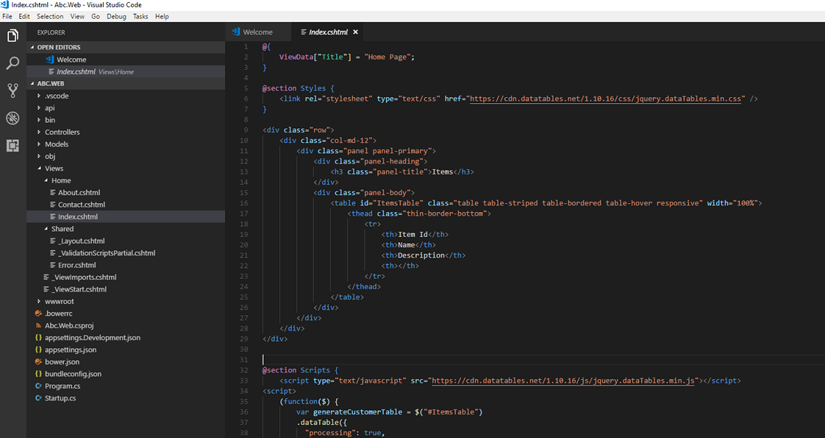 VS Code - Index view