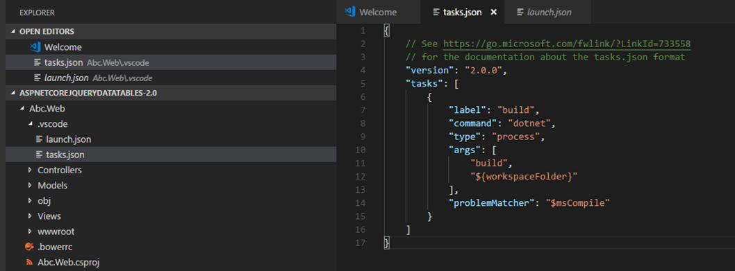 VS Code - tasks.json