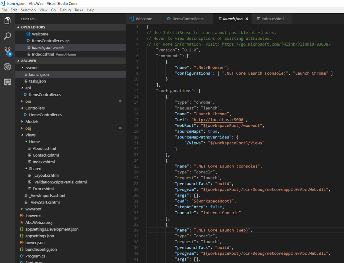 VS Code - launch.json